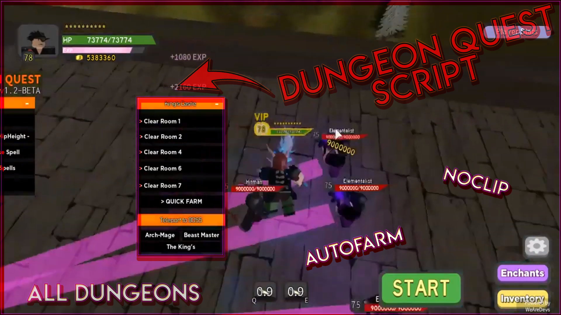 New Dungeon Quest Hack Script Auto Farm Auto Attack Auto Use Spells Speedhack Teletype